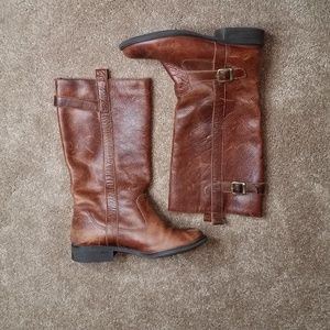 Mia Shoes - MIA Cognac Distressed Leather Boots